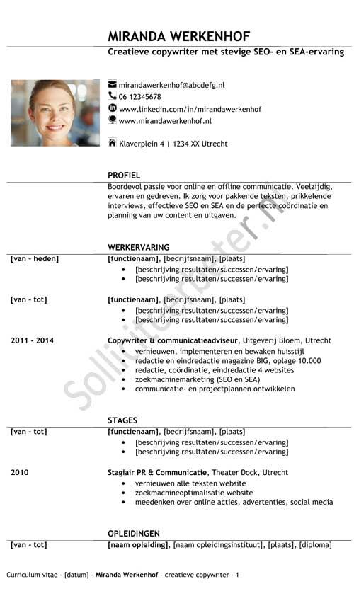 Voorbeelden cv sjablonen om opvallend goed te solliciteren
